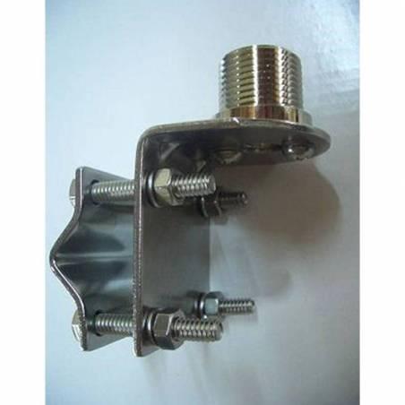 """Soporte antena PK JP-1 de acero inox montarje en mástil 1"""" - 14 hilos"""