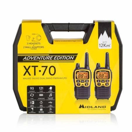 Maletín con 2 walkies PMR Midland XT70 ADV 500 mW 8 canales y Vox