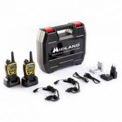 Maletín con 2 walkies PMR Midland XT70 ADV 500 mW 8 canales y Vox contenido