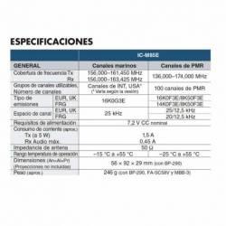 Especificaciones del Walkie Marino Icom IC-M85E Profesional VHF y PMR con 22 canales