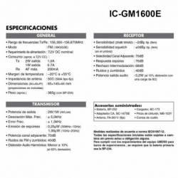 Especificaiones del Walkie Marino Icom IC-GM1600E VHF GMDSS cumple Wheel Mark IP-X7