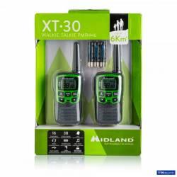 Kit 2 walkies XT30 Midland PMR 8 CH vox control bateria y cargador USB