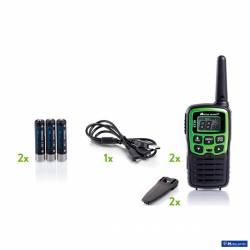 Kit 2 walkies XT30 Midland PMR 8 CH vox control bateria y cargador USB contenido
