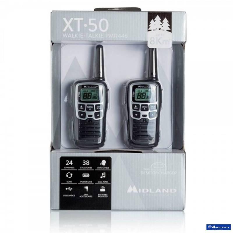 Kit 2 walkies XT50 Midland PMR 8 CH vox control bateria y cargador USB