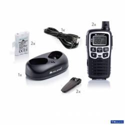 Kit 2 walkies XT50 Midland PMR 8 CH vox control bateria y cargador USB contenido