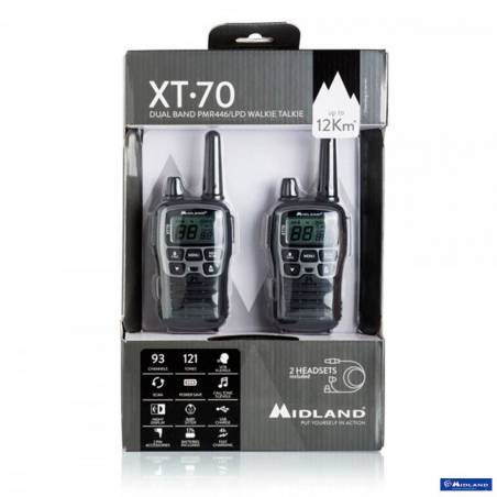 Kit 2 walkies XT70 Midland PMR 8 CH vox control bateria y cargador USB