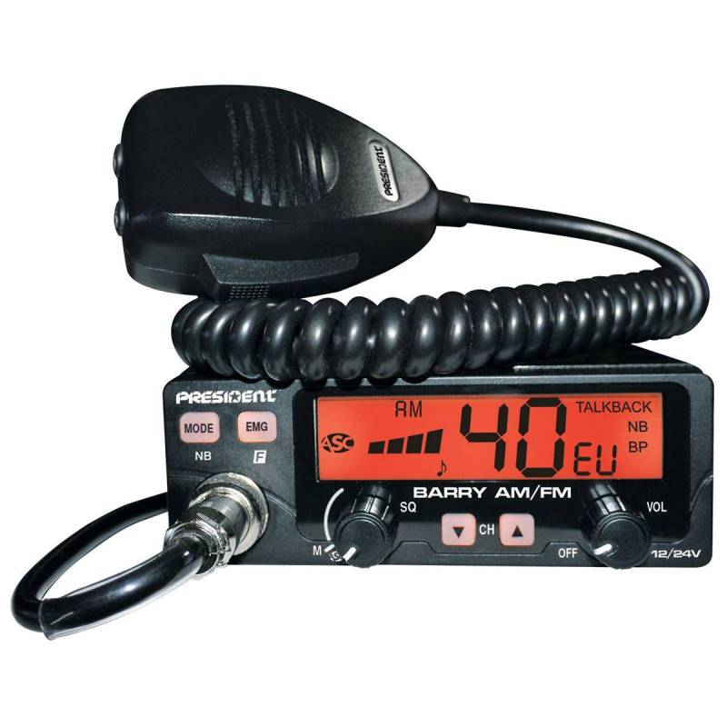 Emisora President Barry CB AM-FM Squelch automático, 12 y 24 V