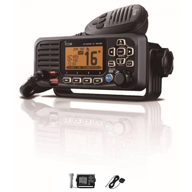 Emisora Marina ICOM IC-M330GE VHF 25W con IPX7 con GPS y antena color negro