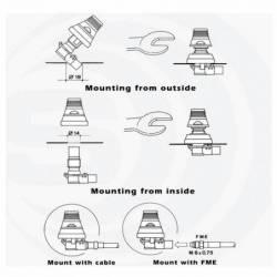 Antena móvil VHF 1/4 Sirio SKB 108-960 ML 100W incluye cable y base detalle sistema de montaje