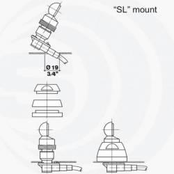 Antena móvil 1/4 VHF ó 5/8 UHF Sirio MGA 55-550 SL con cable y base detalle instalación