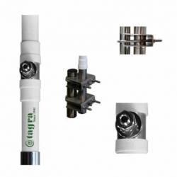 Antena marina HF Tagra HF-600 1.4-30 Mhz 600W 6 m en 2 tramos detalle conector